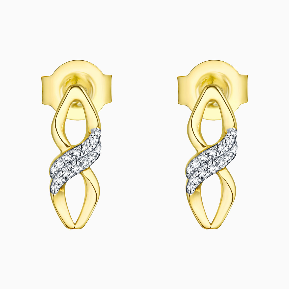E13559WHT- 14K Yellow Gold Diamond Earrings, 0.04 TCW
