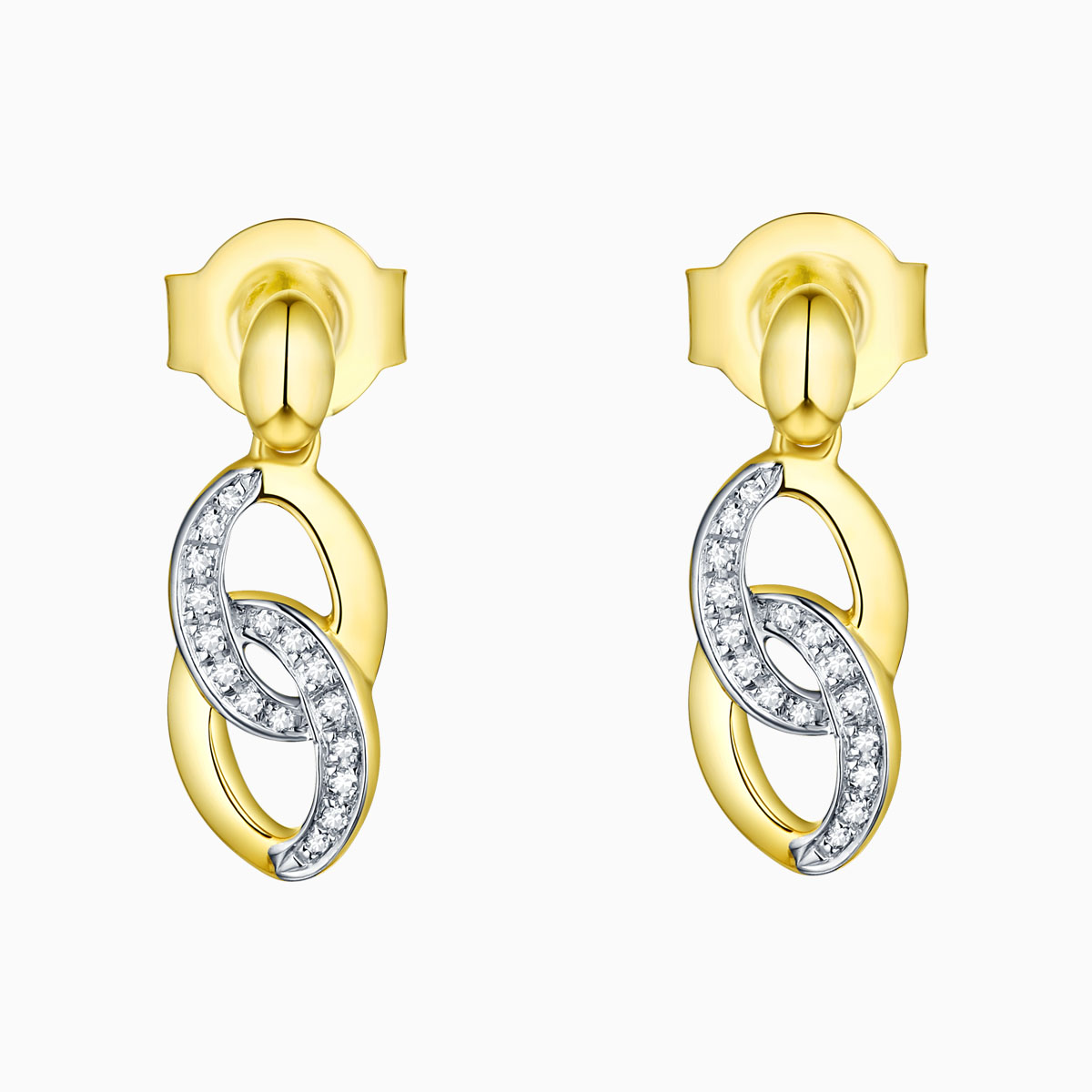 E13630WHT- 14K Yellow Gold Diamond Earrings, 0.05 TCW
