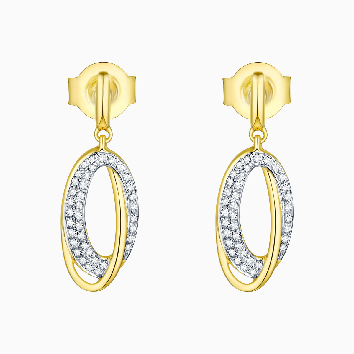 E13634WHT- 14K Yellow Gold Diamond Earrings, 0.11 TCW