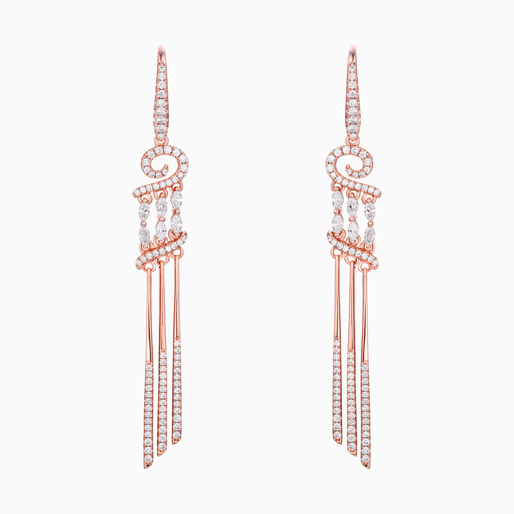 E24753WHT- 14K Rose Gold Diamond Earrings, 1.24 TCW