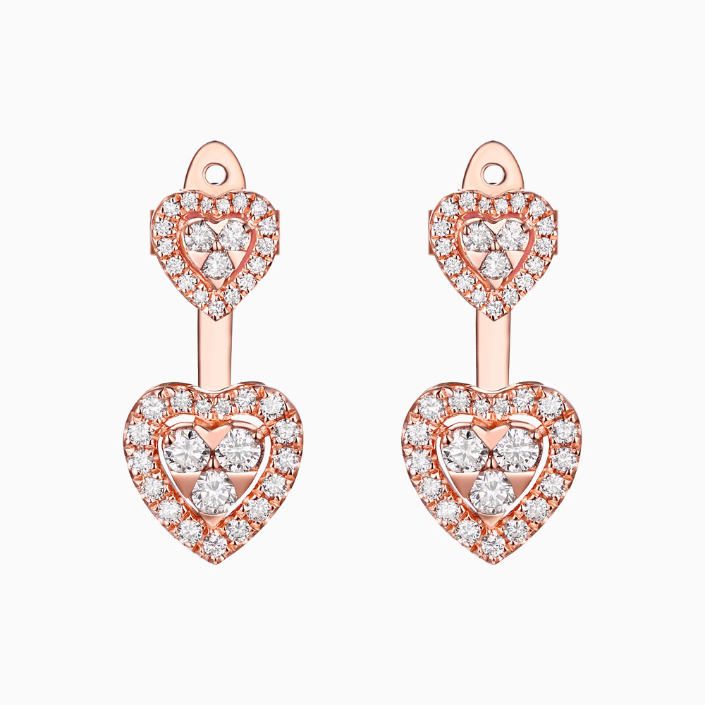 E25528WHT- 14K Rose Gold Diamond Earrings, 0.65 TCW