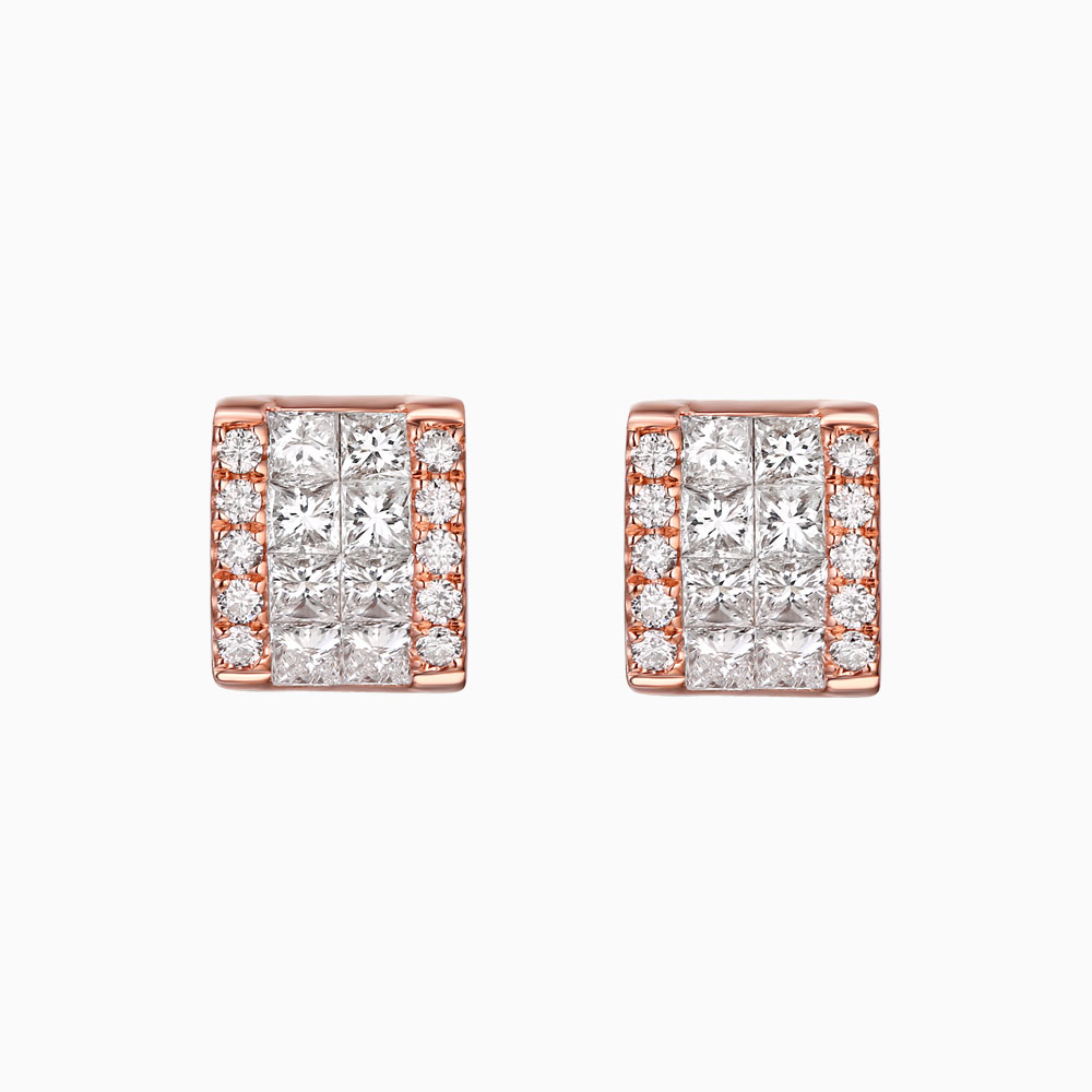 E25770WHT- 14K Rose Gold Diamond Earrings, 0.81 TCW