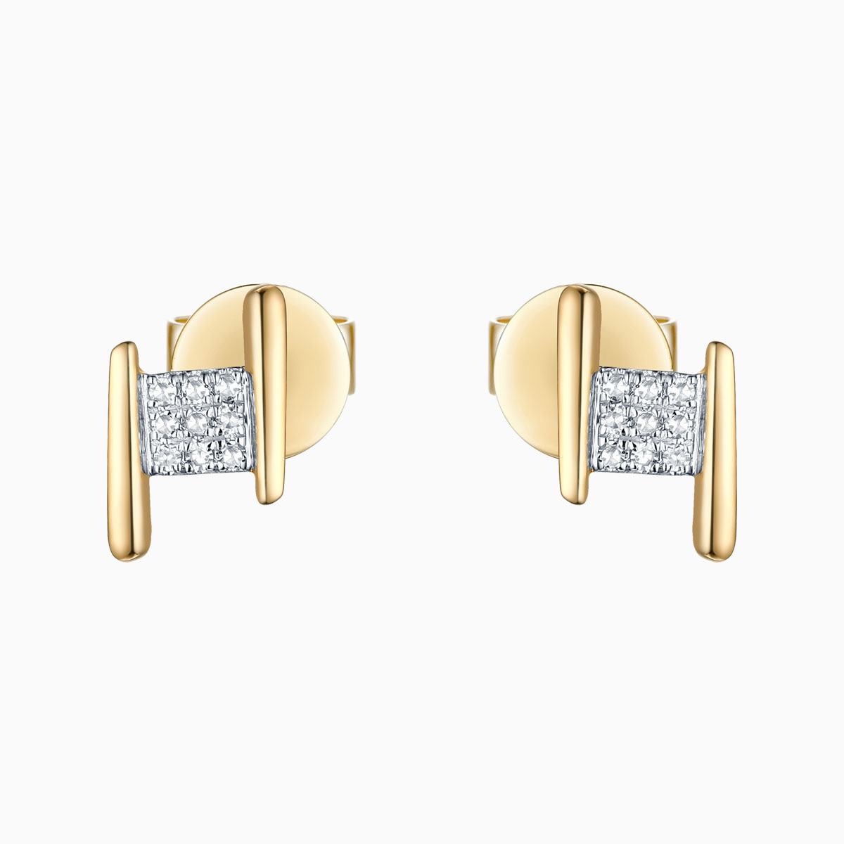 E25846WHT- 14K Yellow Gold Diamond Earrings, 0.04 TCW