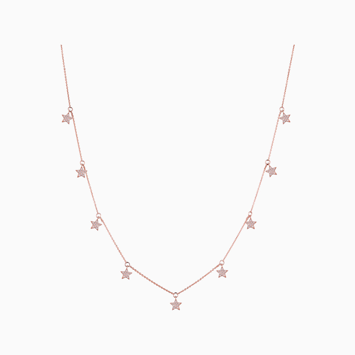 NL25533WHT- 14K Rose Gold Diamond Necklace, 0.63 TCW