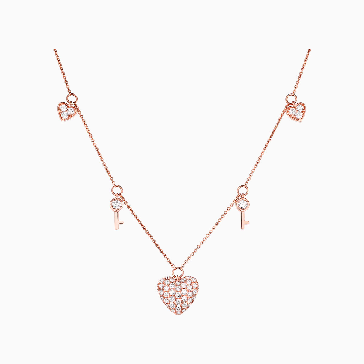 NL25536WHT- 14K Rose Gold Diamond Necklace, 0.76 TCW