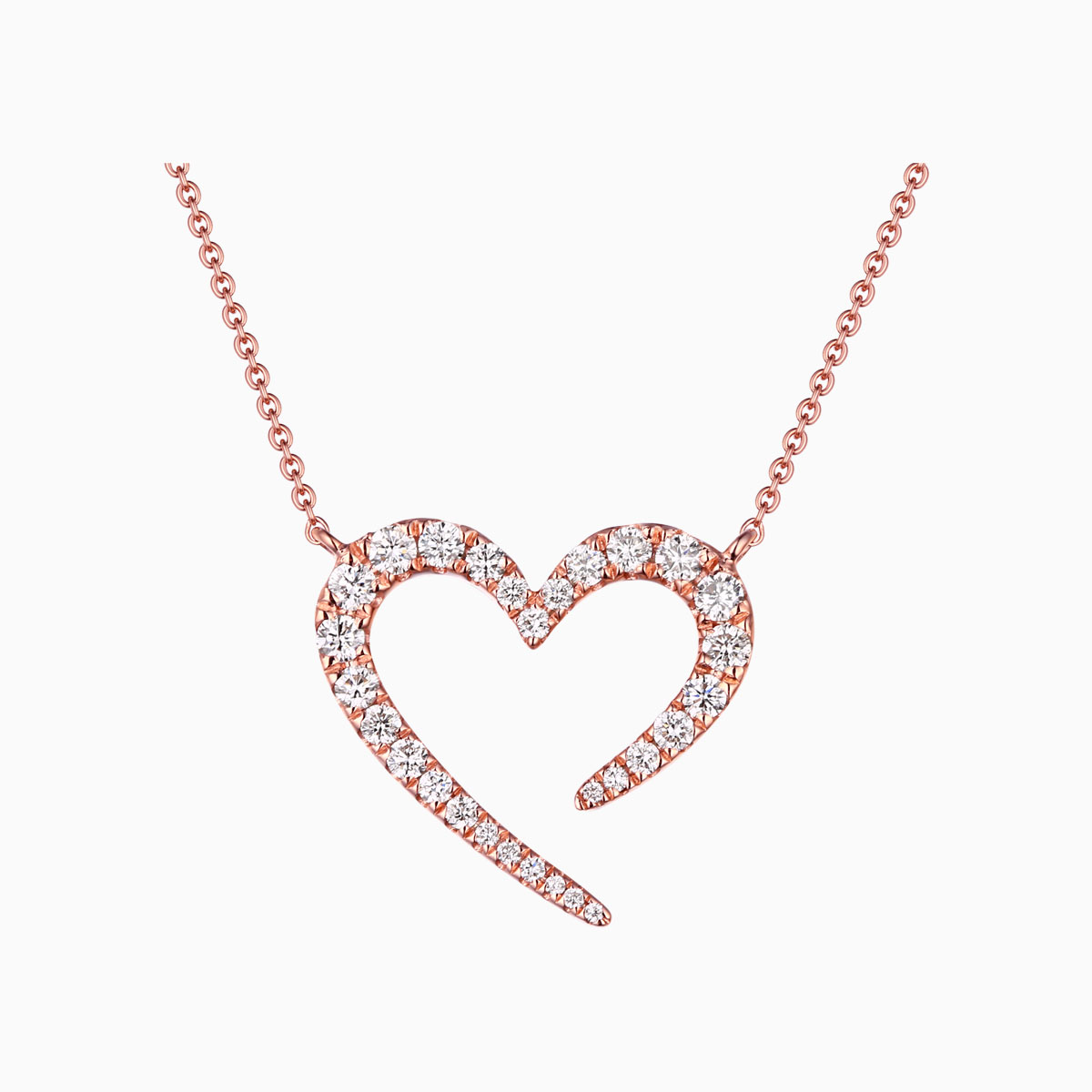 NL25726WHT- 14K Rose Gold Diamond Necklace, 0.45 TCW