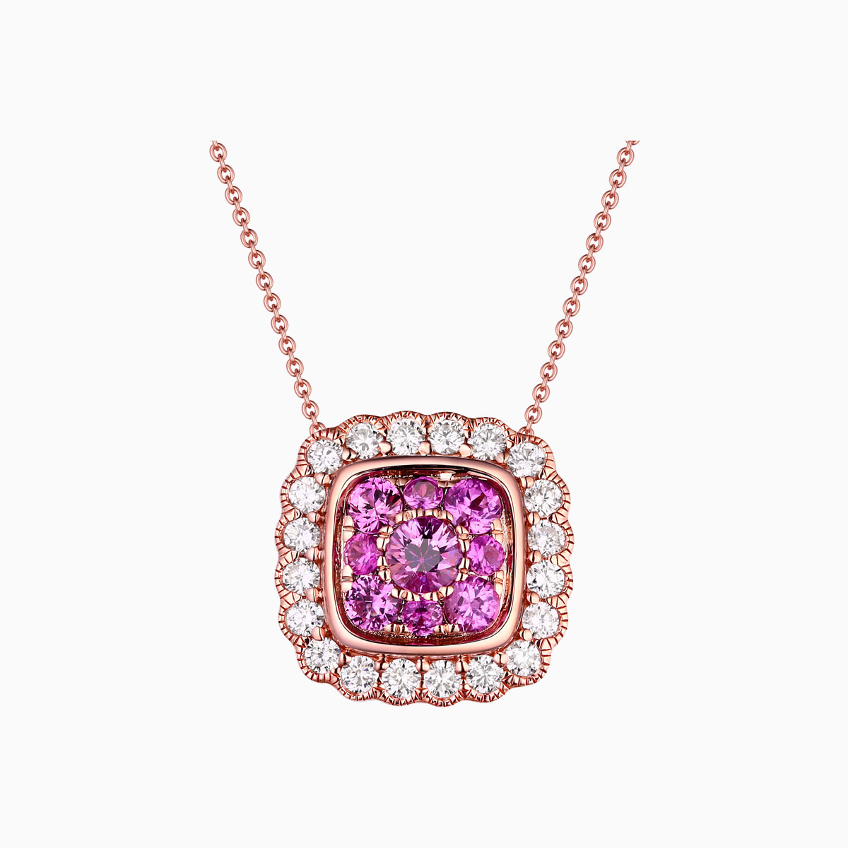 P21864PSA – 14K Rose Gold Diamond Pendant, 0.92 TCW