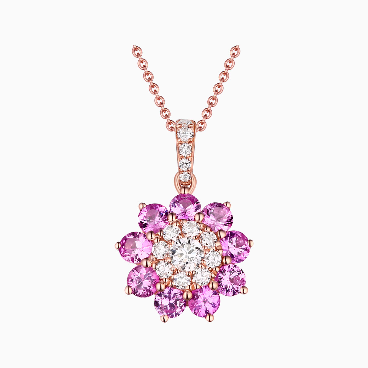 P22036WPS –  14K Rose Gold Diamond Pendant, 1.14 TCW