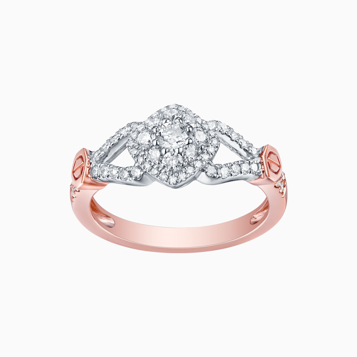 R17416WHT- 14K Rose Gold Diamond Ring, 0.60 TCW