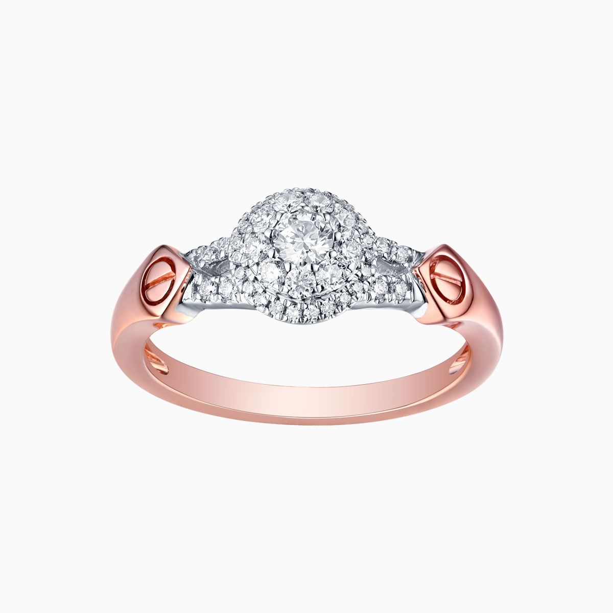 R17592WHT- 14K Rose Gold Diamond Ring, 0.39 TCW