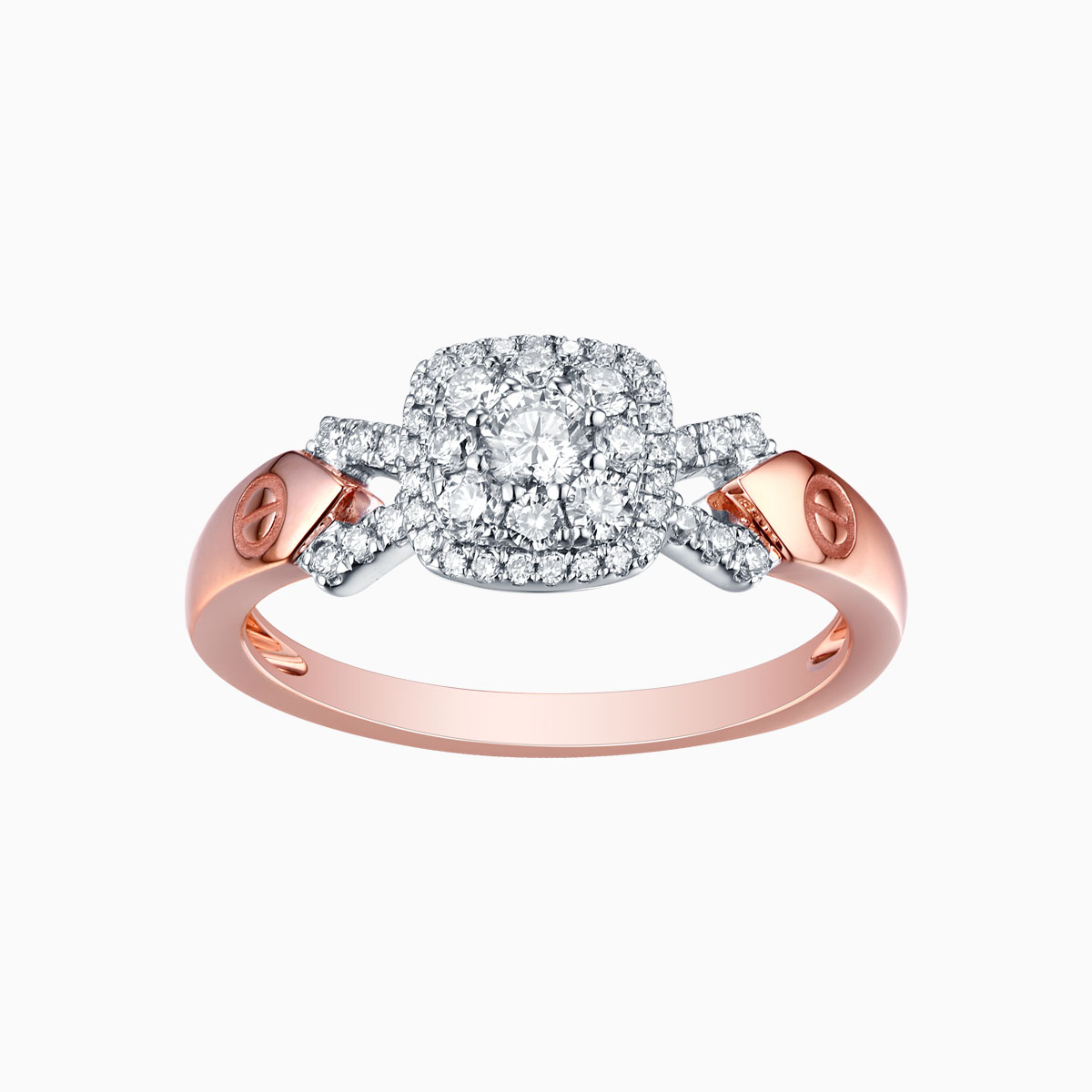 R17604WHT- 14K Rose Gold Diamond Ring, 0.45 TCW