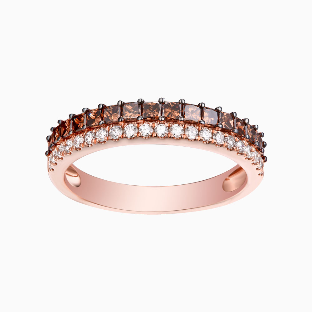R24916WBR- 14K Rose Gold Diamond Ring, 0.89 TCW