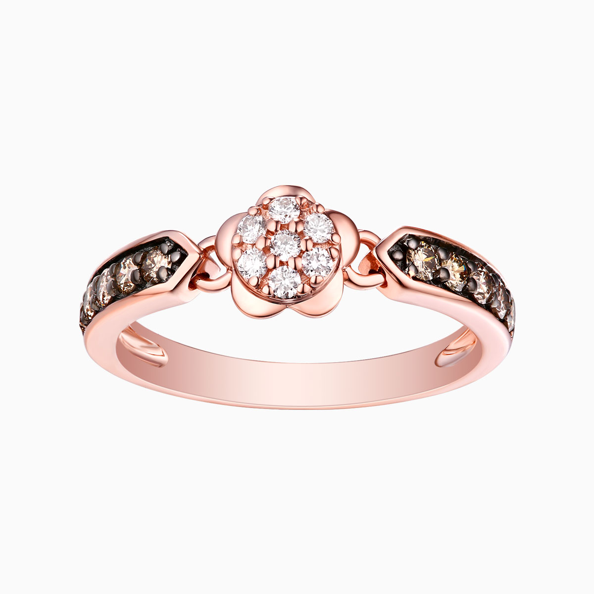 R24980WBR- 14K Rose Gold Diamond Ring, 0.43 TCW