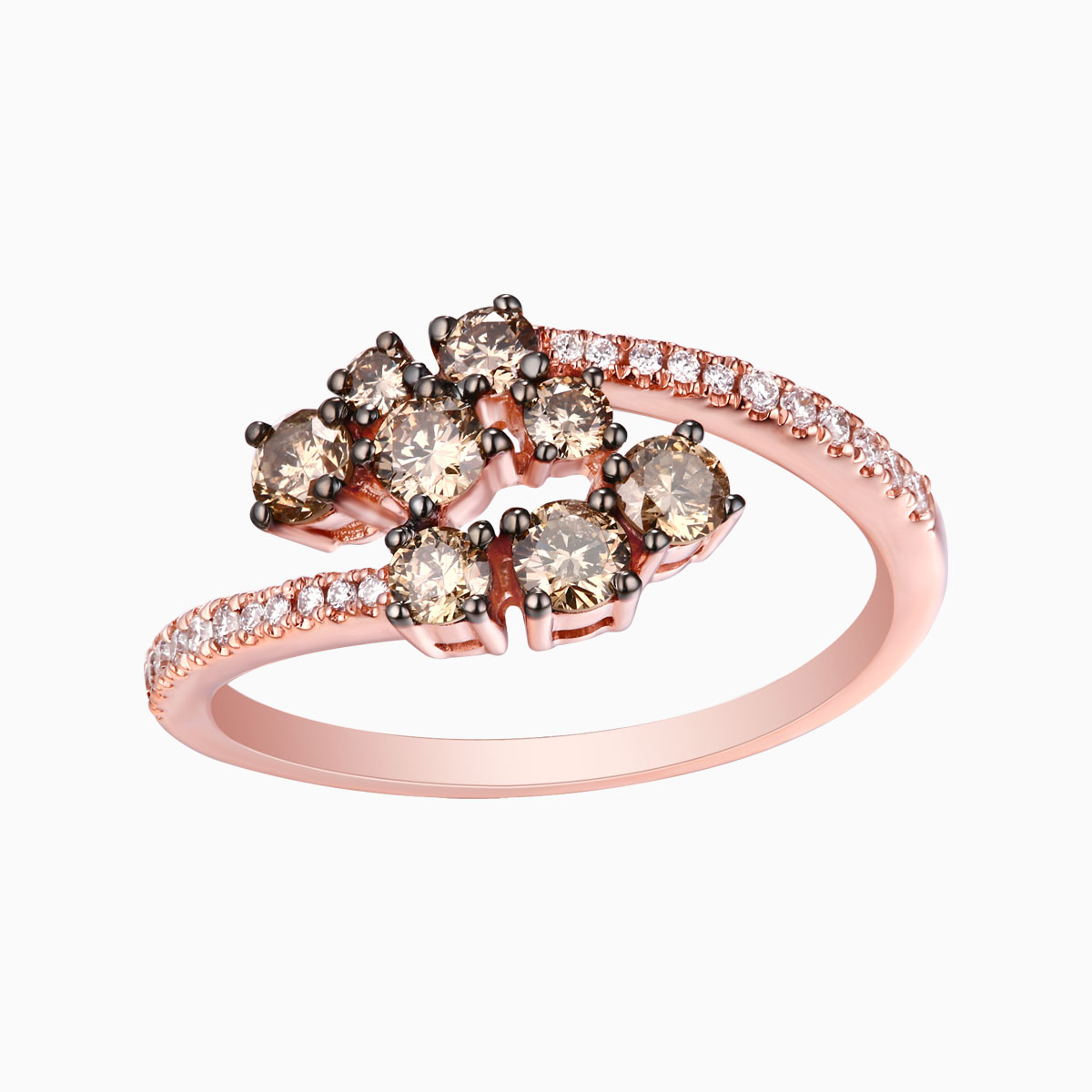 R25190BRN- 14K Rose Gold Diamond Ring, 0.87 TCW