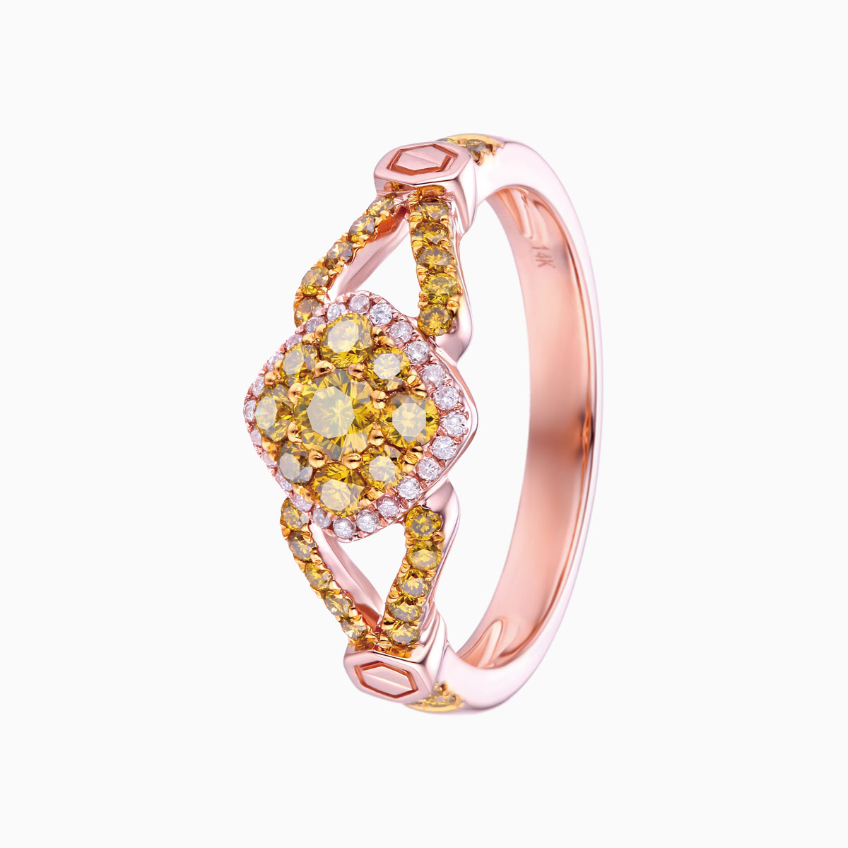 R17416YEL- 14K Rose Gold Diamond Ring, 0.64 TCW