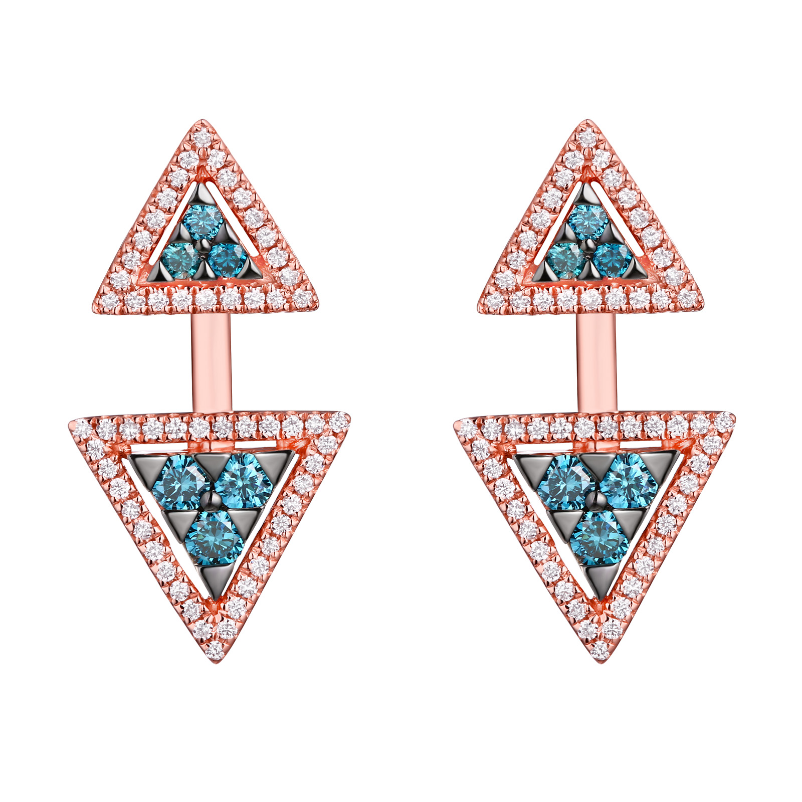 E25079ICE- 18K Rose Gold Diamond Earrings, 0.66 TCW