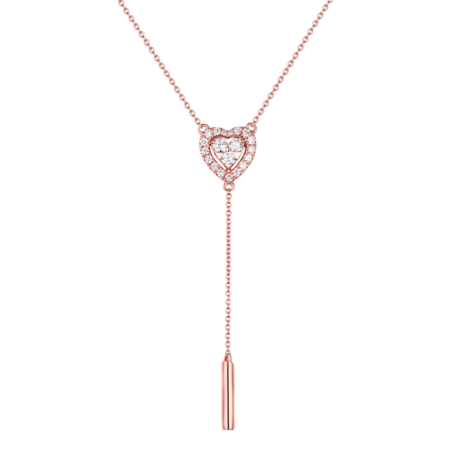 NL25529WHT- 14K Rose Gold Diamond Necklace, 0.26 TCW