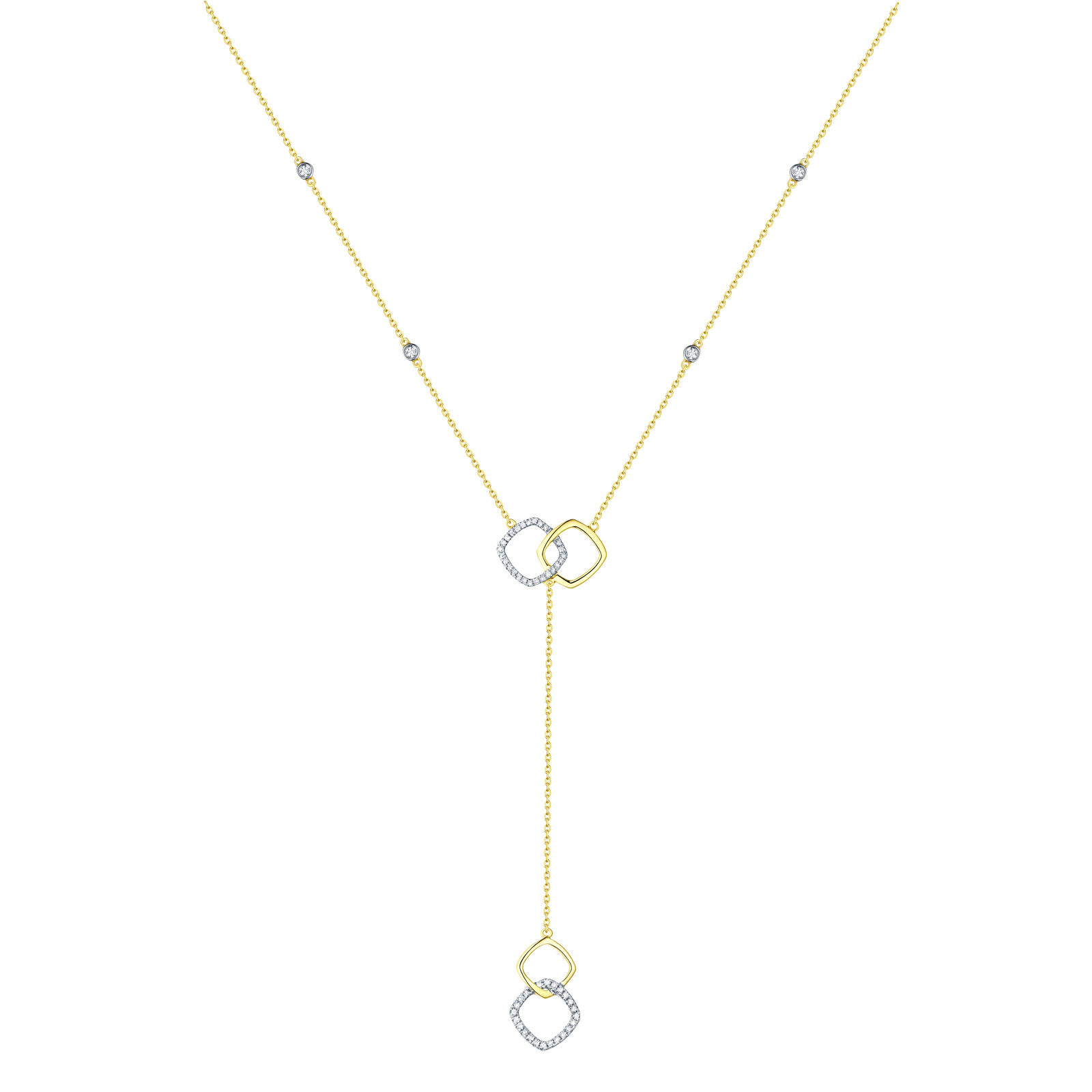 NL25998WHT- 14K Yellow Gold Diamond Necklace, 0.16 TCW