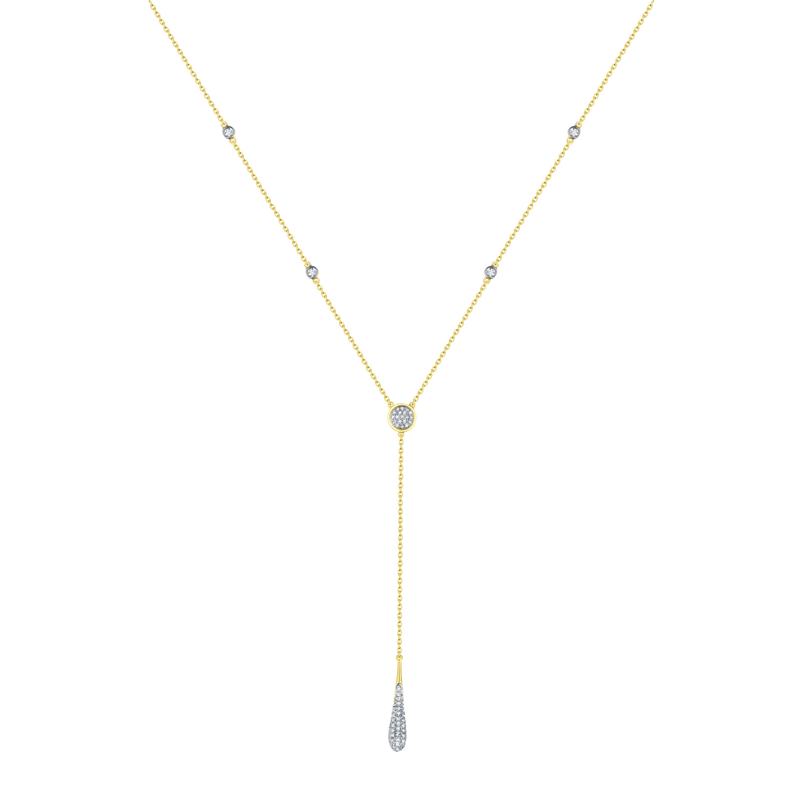 NL25999WHT – 14K Yellow Gold Diamond Necklace, 0.17 TCW