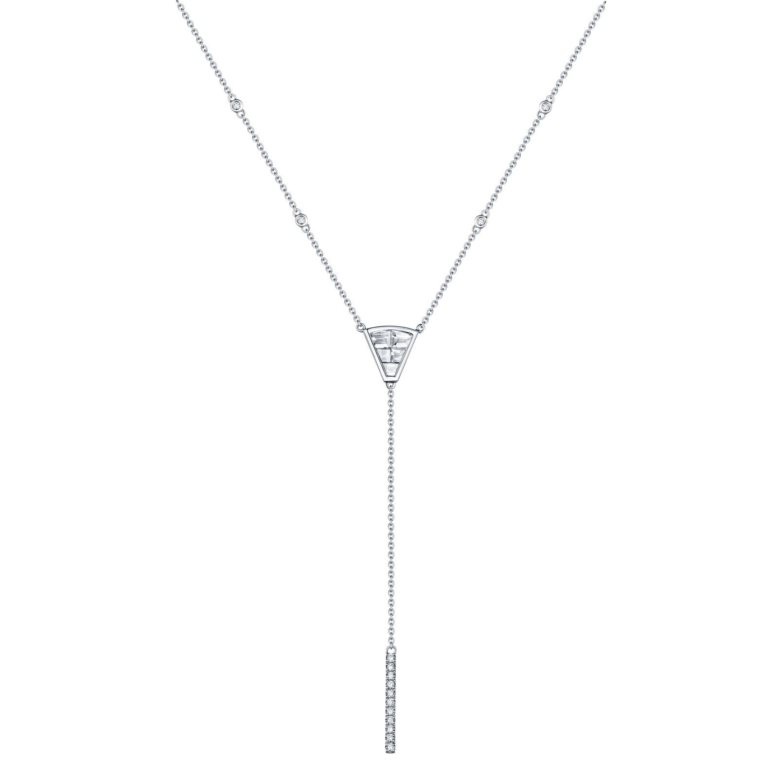 NL26351WHT- 14K White Gold Diamond Necklace, 0.70 TCW