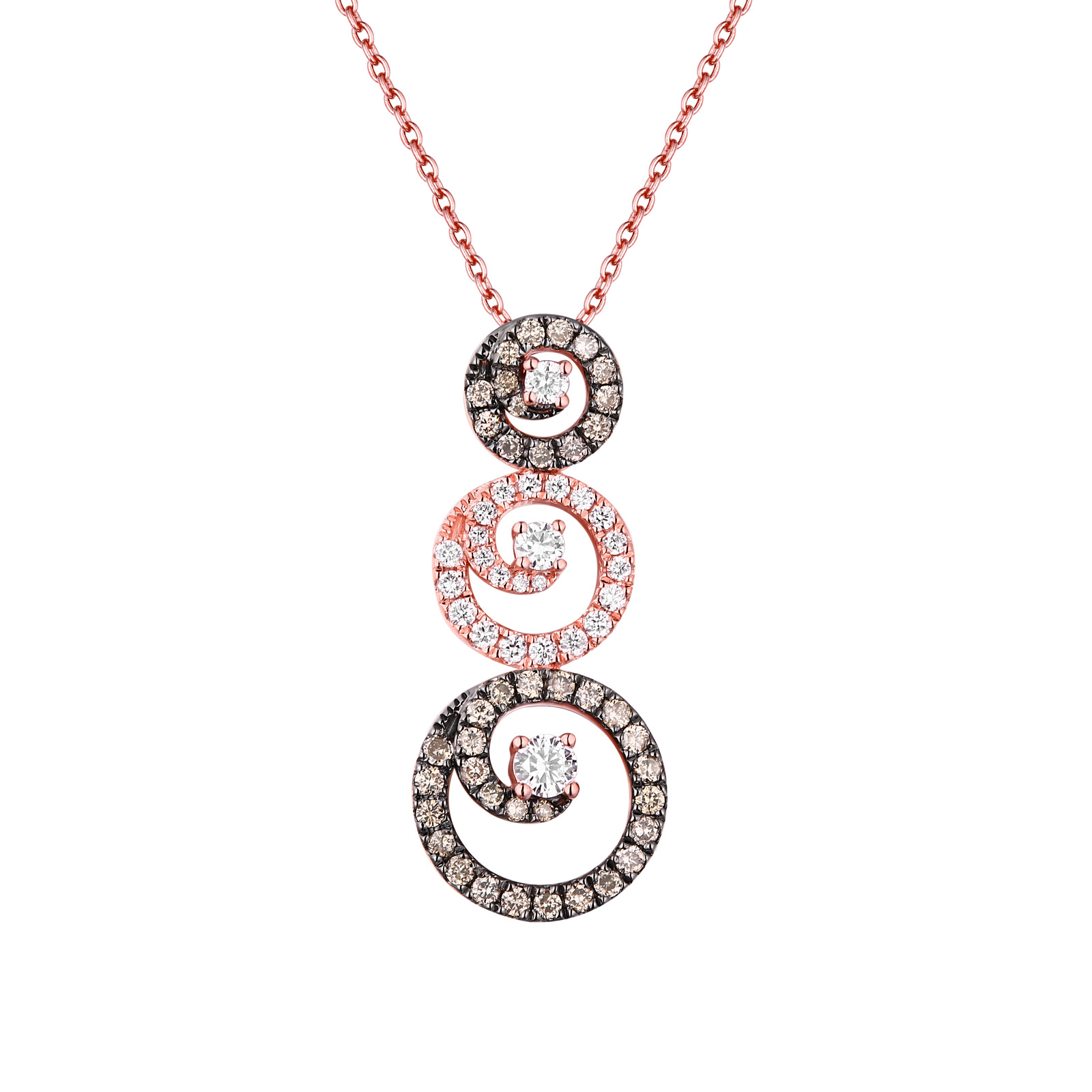 P26443WBR- 14K Rose Gold Diamond Pendant , 0.63 TCW