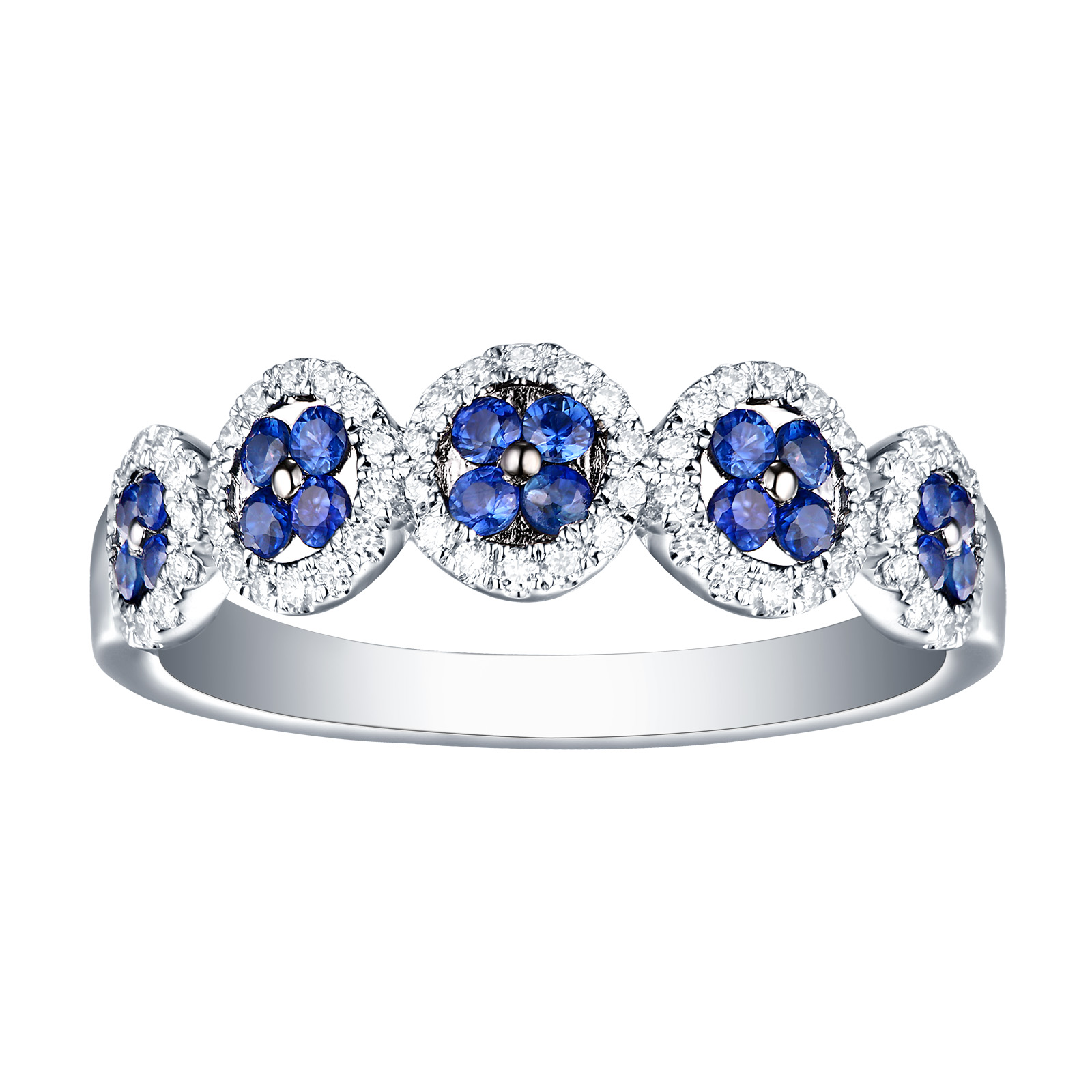 R13401BSA – 14K White Gold Blue Sapphire and Diamond Ring, 0.58 TCW