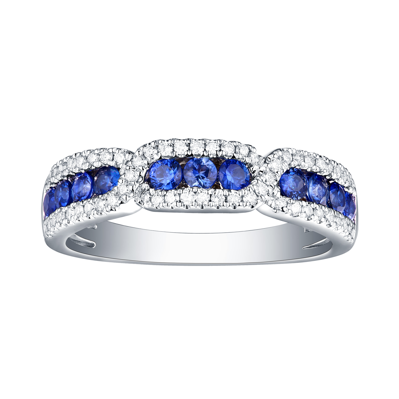 R22402BSA – 14K White Gold Blue Sapphire and Diamond Ring, 0.74 TCW