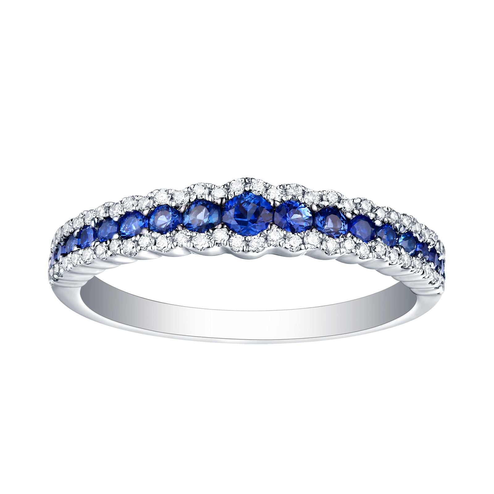 R22808BSA – 14K White Gold Blue Sapphire and Diamond Ring, 0.64 TCW