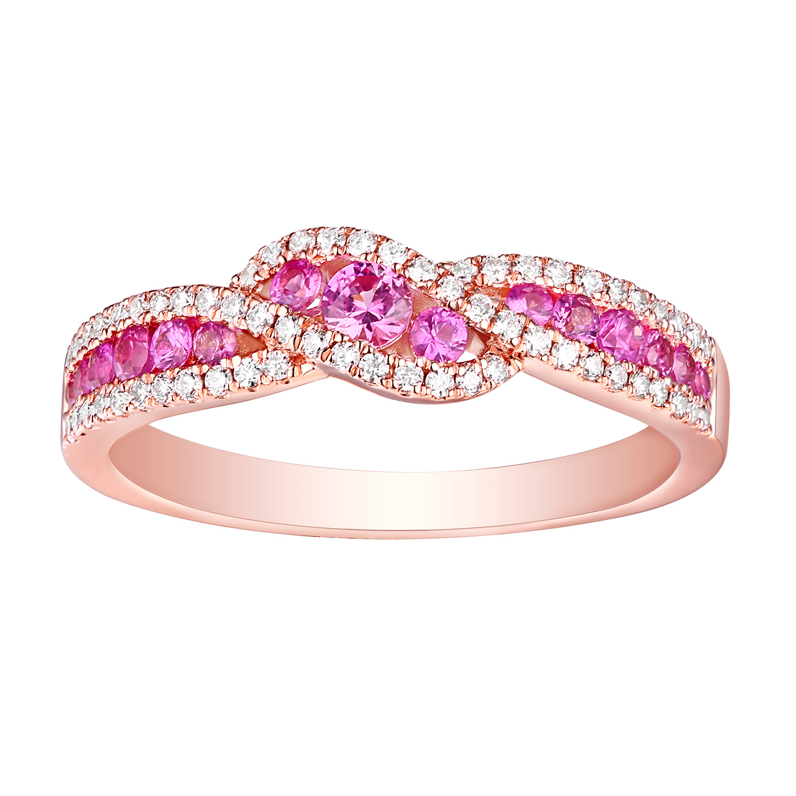 R22813PSA – 14K Rose Gold Pink Sapphire and Diamond Ring, 0.61 TCW