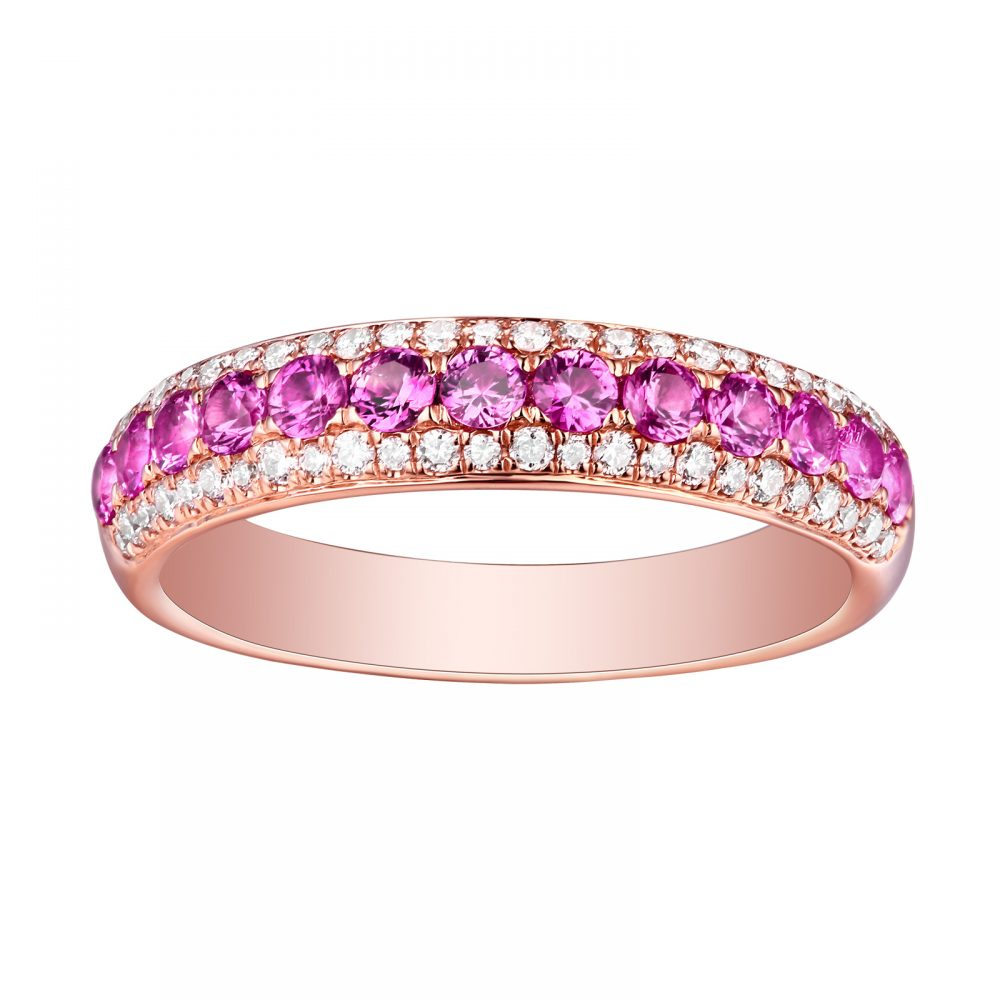 R22820PSA- 14K Rose Gold Pink Sapphire and Diamond Ring, 0.96 TCW ...