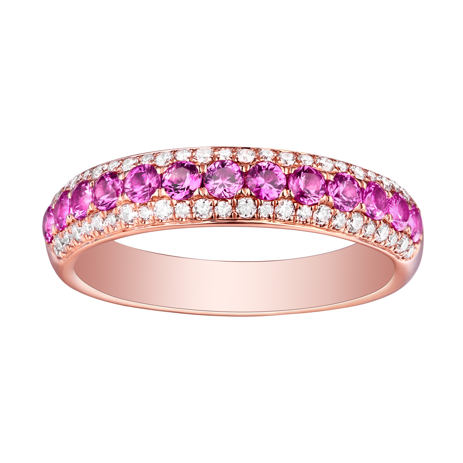 R22820PSA- 14K Rose Gold Pink Sapphire and Diamond Ring, 0.96 TCW