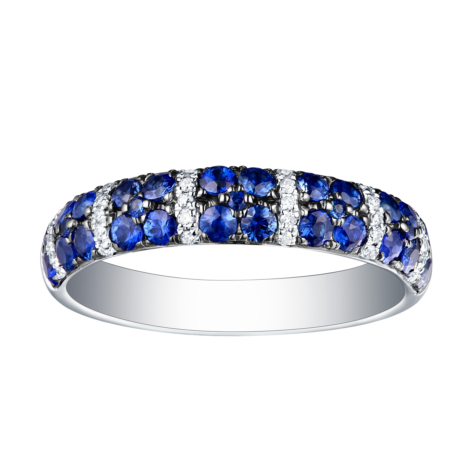 R22832BSA – 14K White Gold Blue Sapphire and Diamond Ring, 0.98 TCW