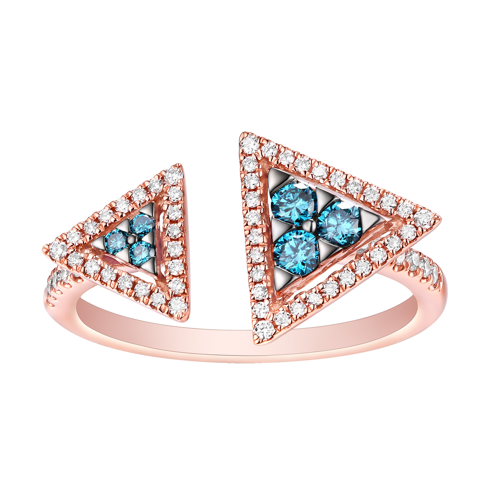 R25080ICE- 18K Rose Gold Diamond Ring, 0.43 TCW