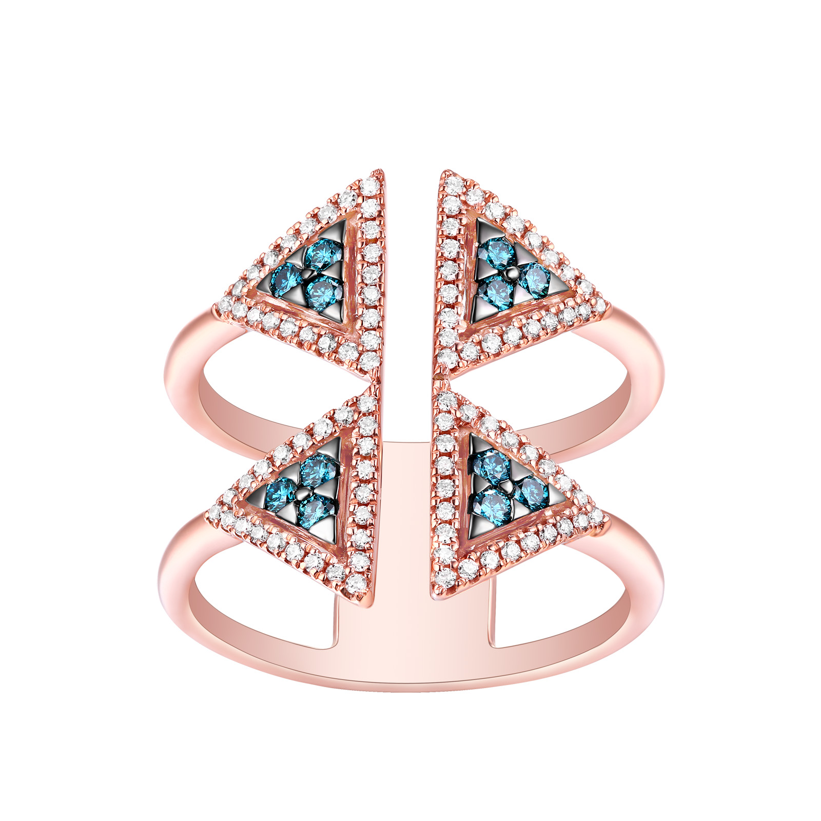 R25082ICE- 18K Rose Gold Diamond Ring, 0.41 TCW