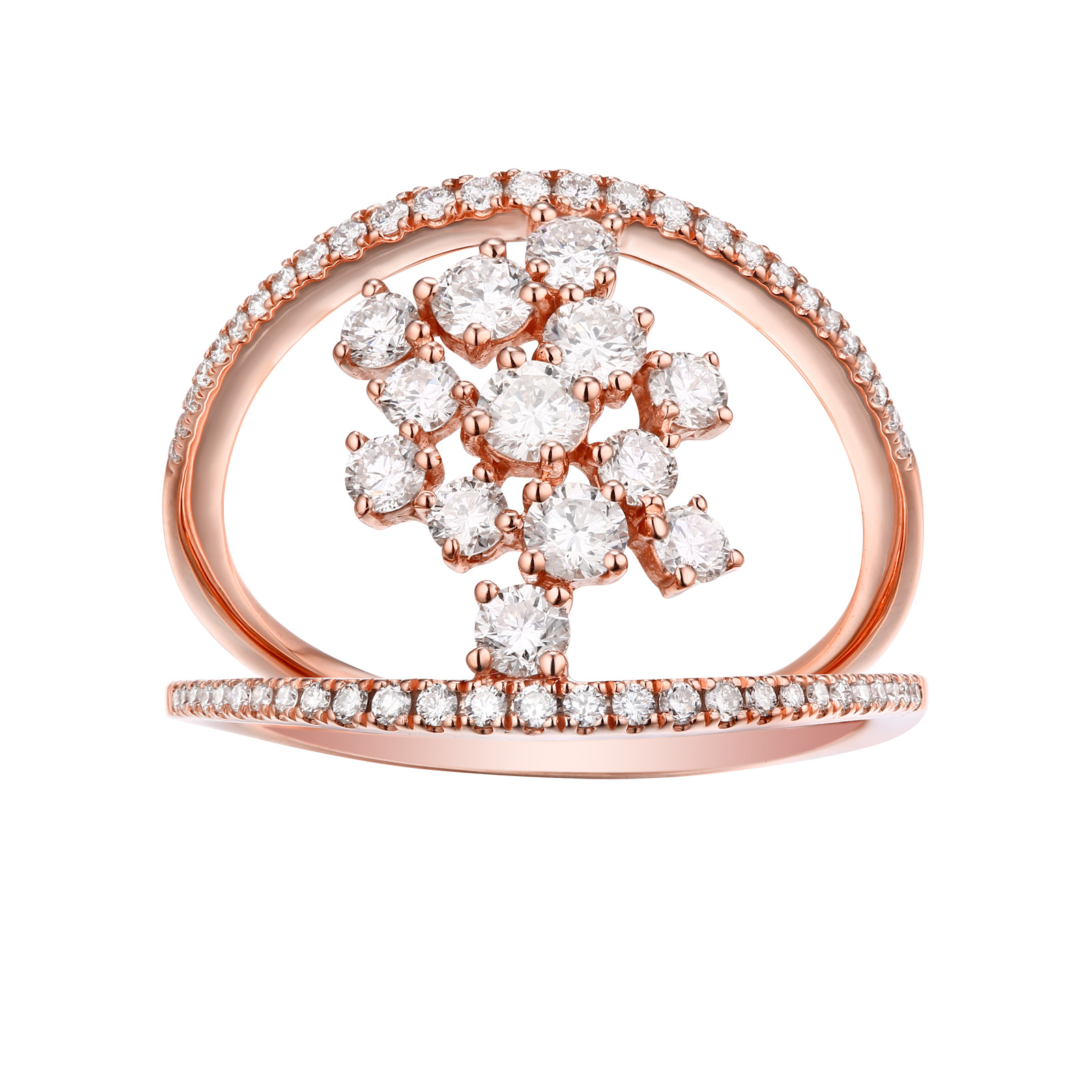 R25731WHT- 14K Rose Gold Diamond Ring, 0.89 TCW