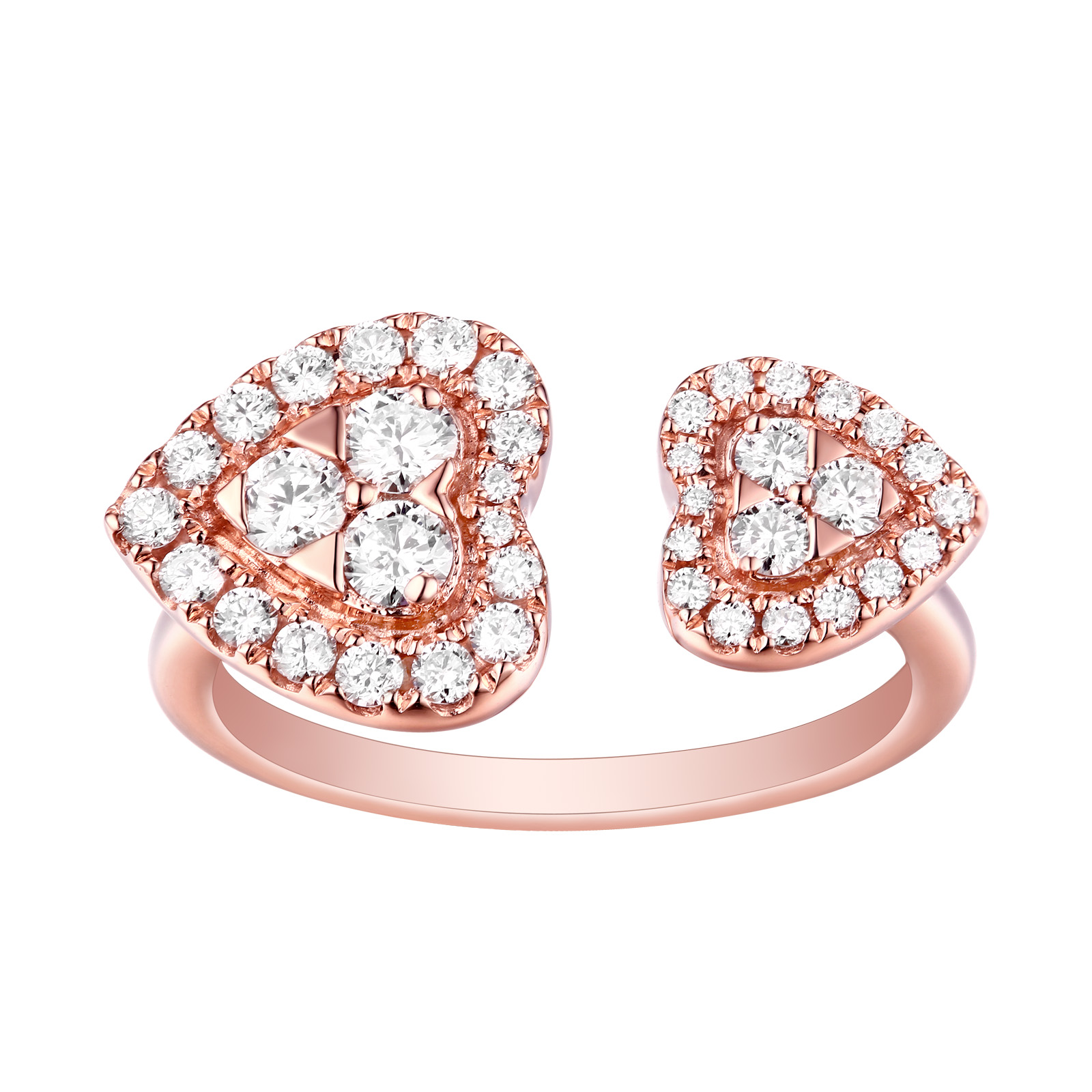 R25527WHT- 14K Rose Gold Diamond Ring, 0.72 TCW