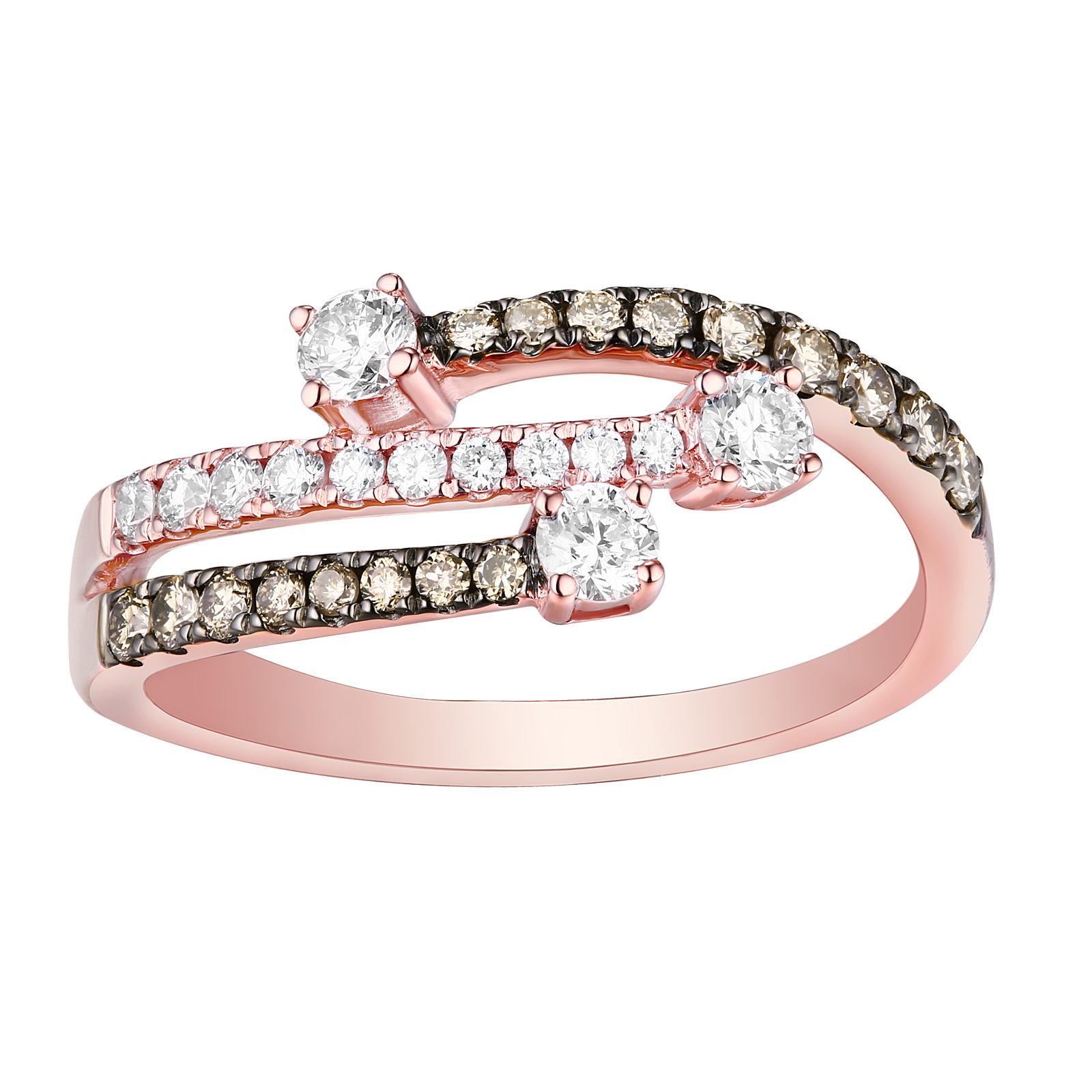 R25899WBR- 14K Rose Gold Diamond Ring, 0.60 TCW