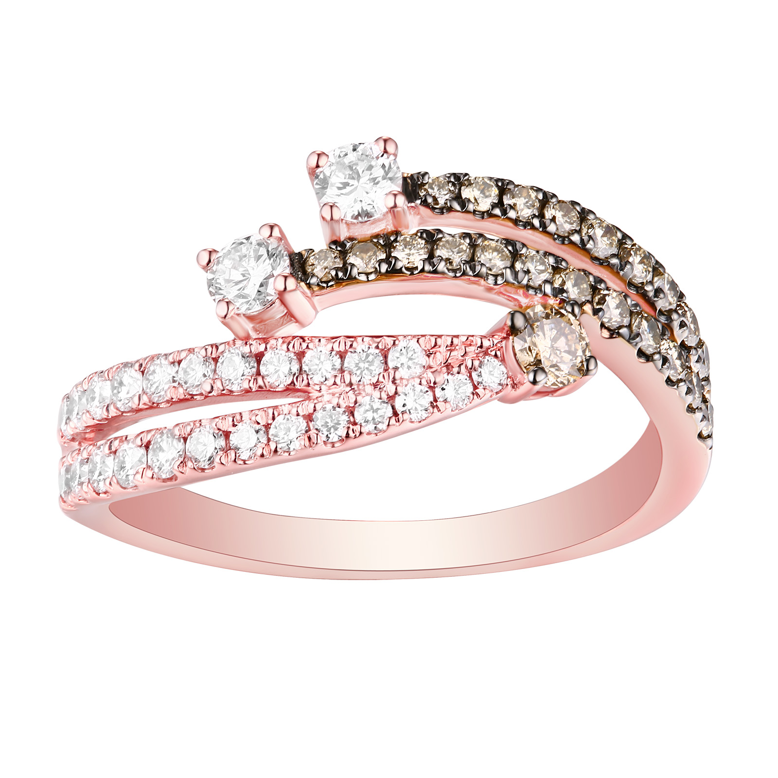 R25900WBR- 14K Rose Gold Diamond Ring, 0.76 TCW