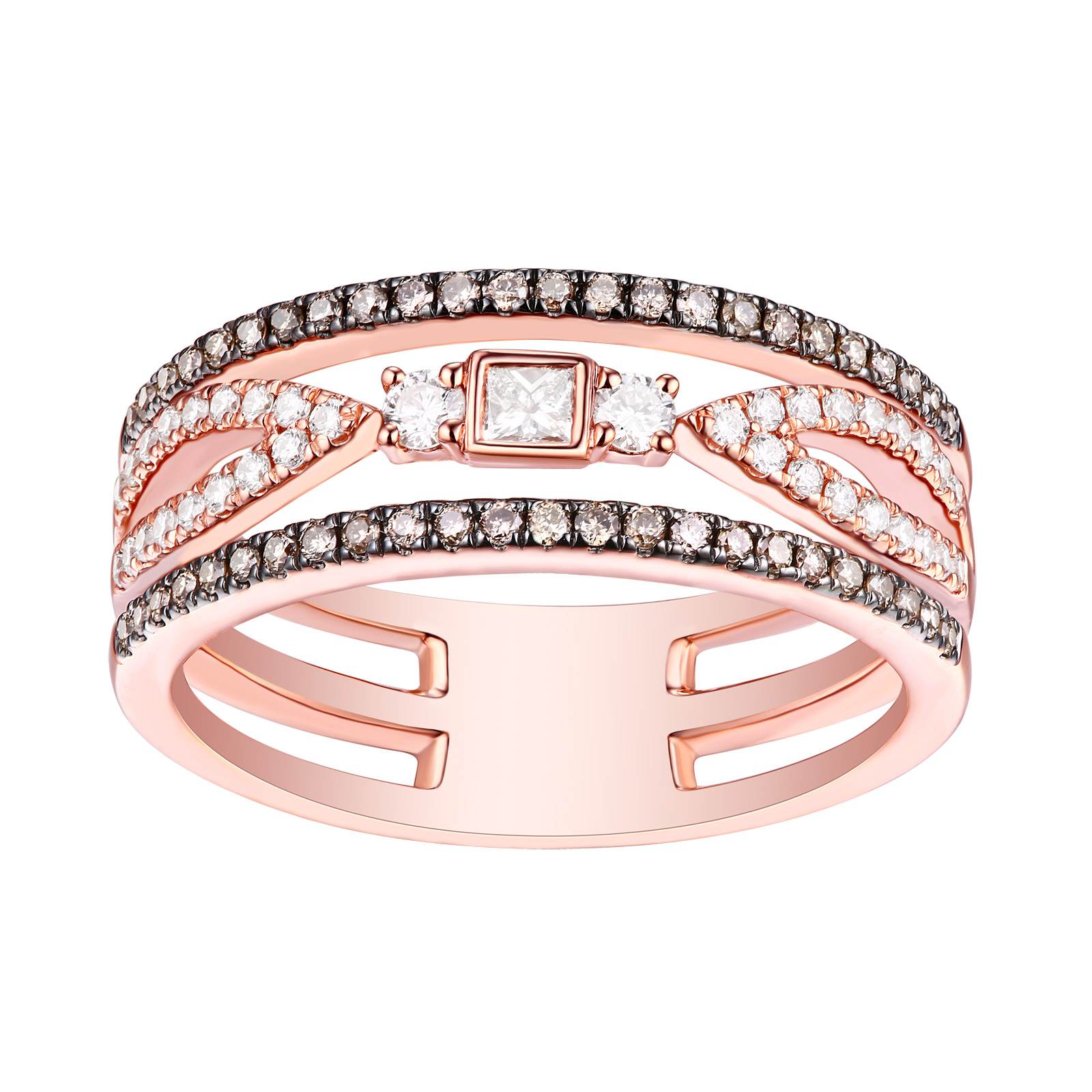 R25911WBR- 14K Rose Gold Diamond Ring, 0.50 TCW