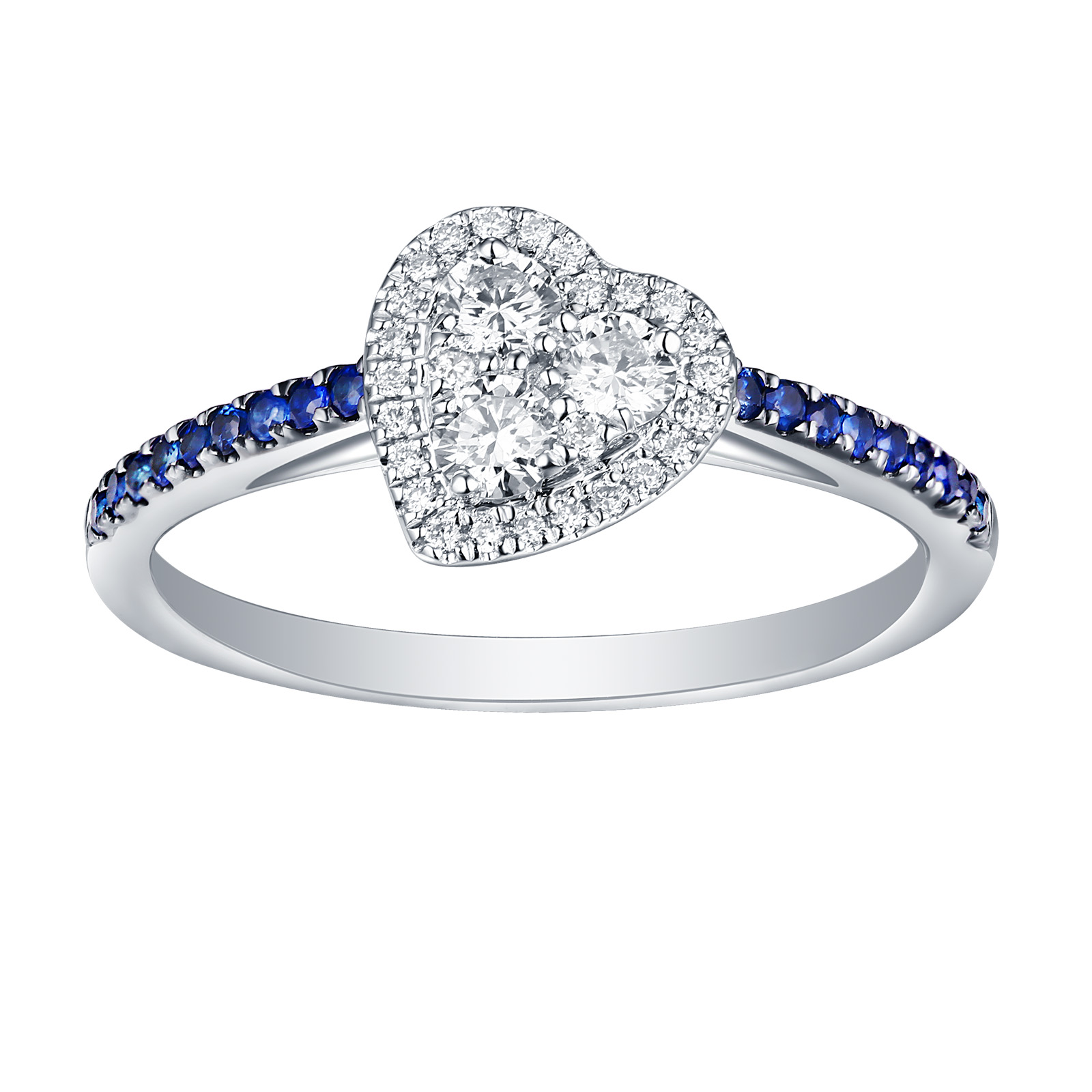R25919WBS- 14K White Gold Blue Sapphire Diamond Ring, 0.46 TCW