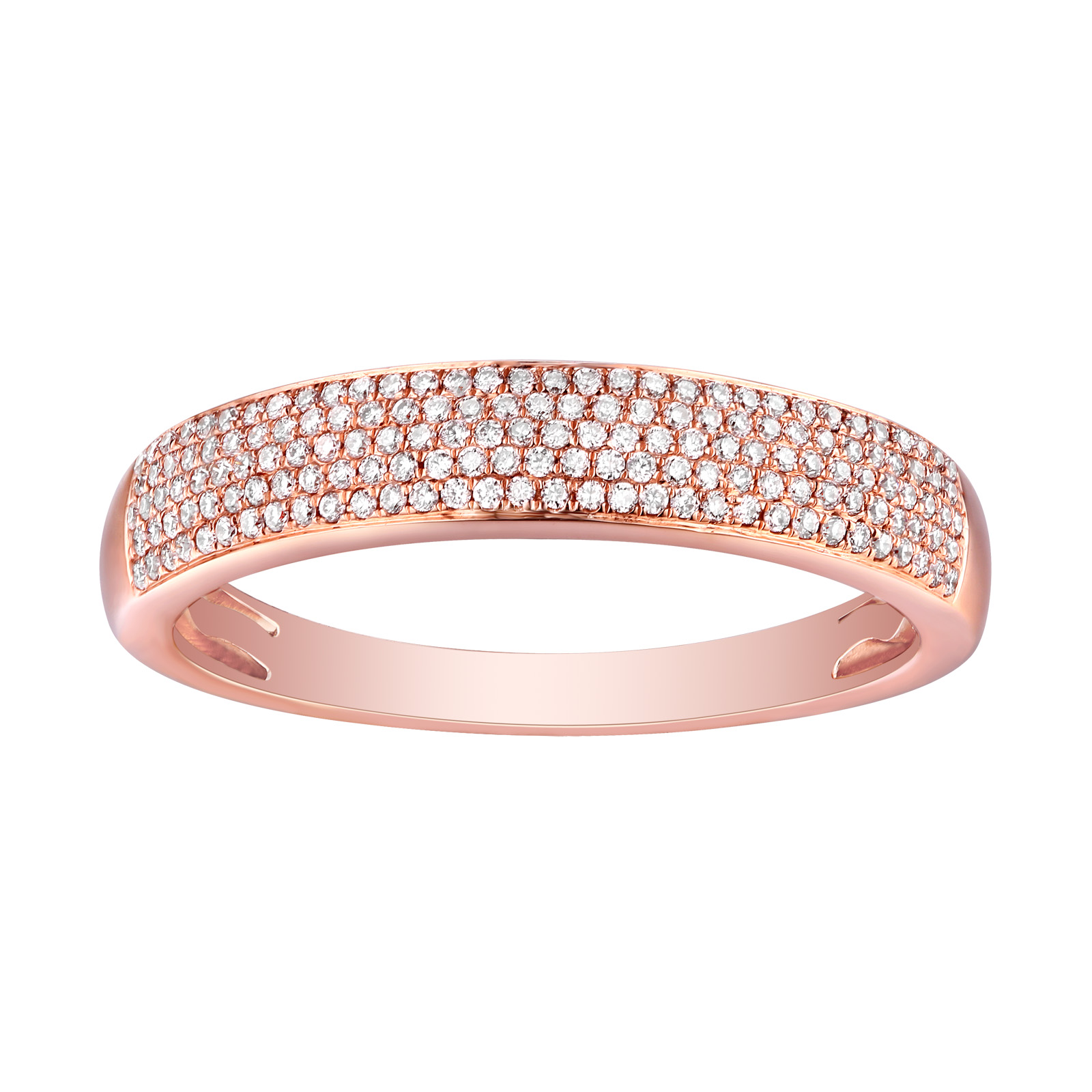 R25962WHT – 14K Rose Gold Diamond Ring, 0.24 TCW