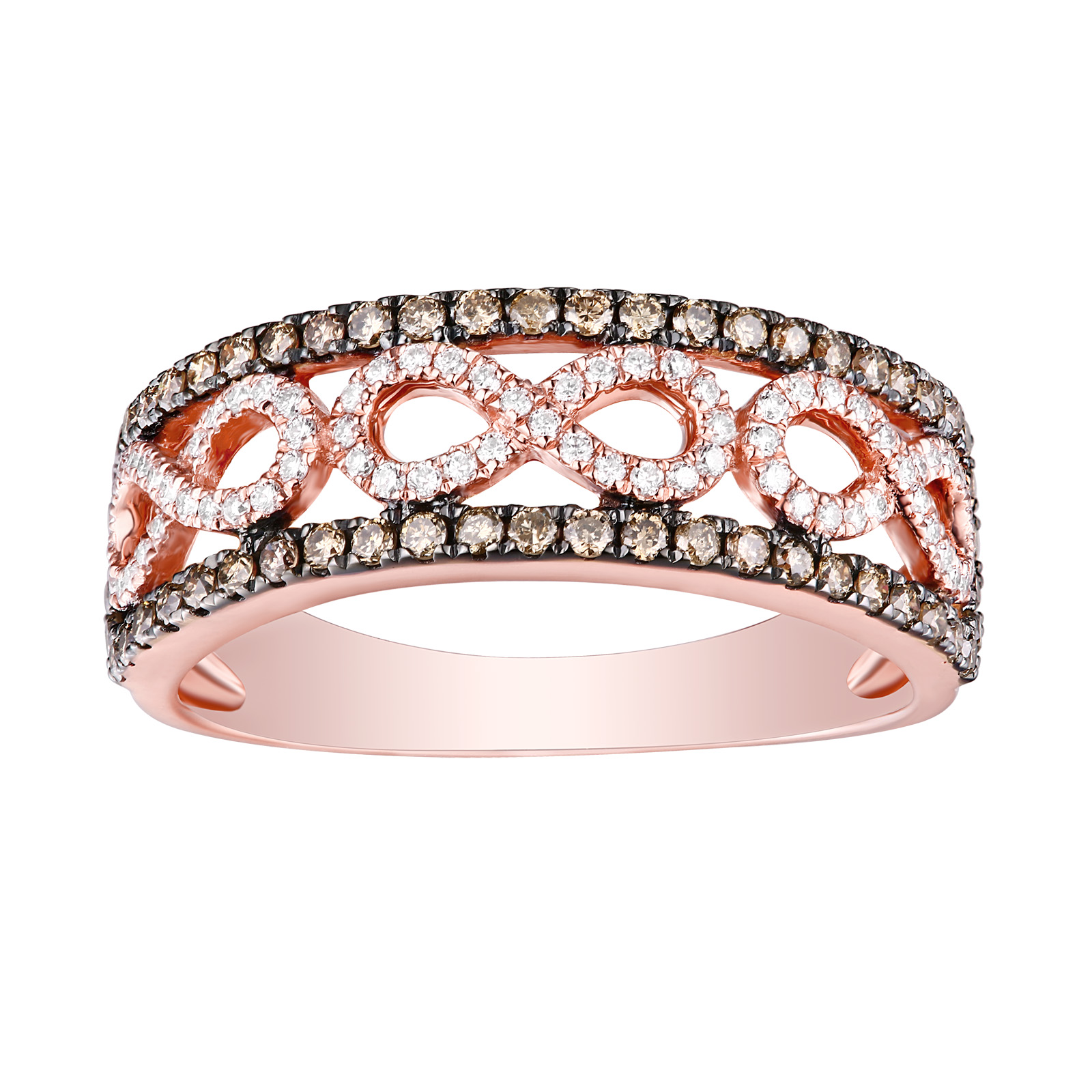 R26208WBR- 14K Rose Gold Diamond Ring, 0.56 TCW