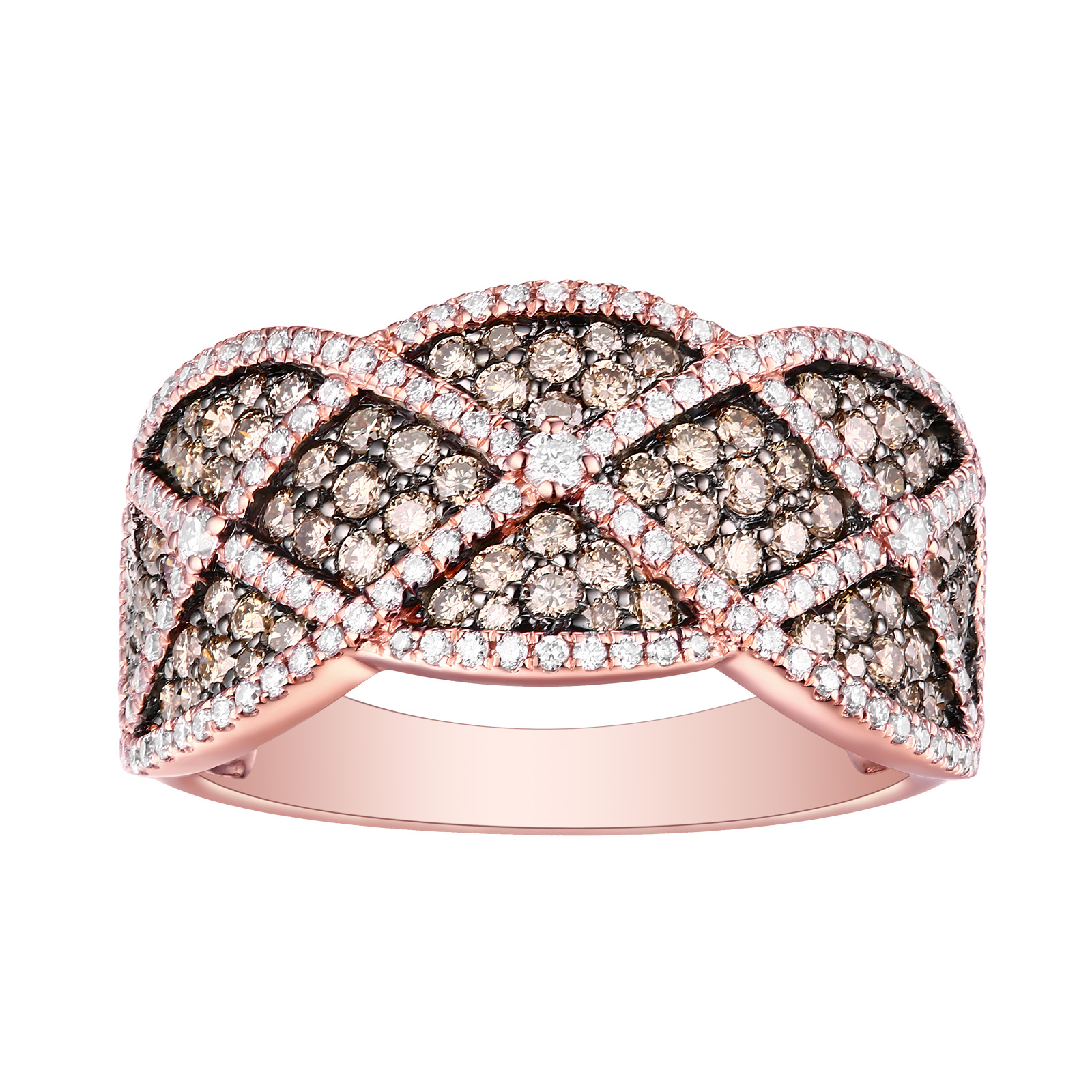 R26231BRN- 14K Rose Gold Diamond Ring, 1.20 TCW
