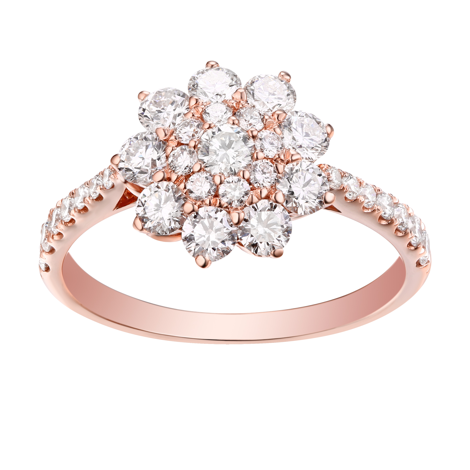 R-22035WHT- 14K Rose Gold Diamond Ring, 1.27 TCW