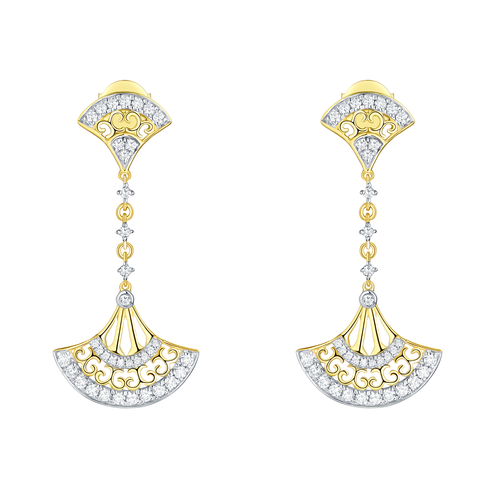 E29918WHT- 14K Yellow Gold Diamond Earrings, 0.54 TCW