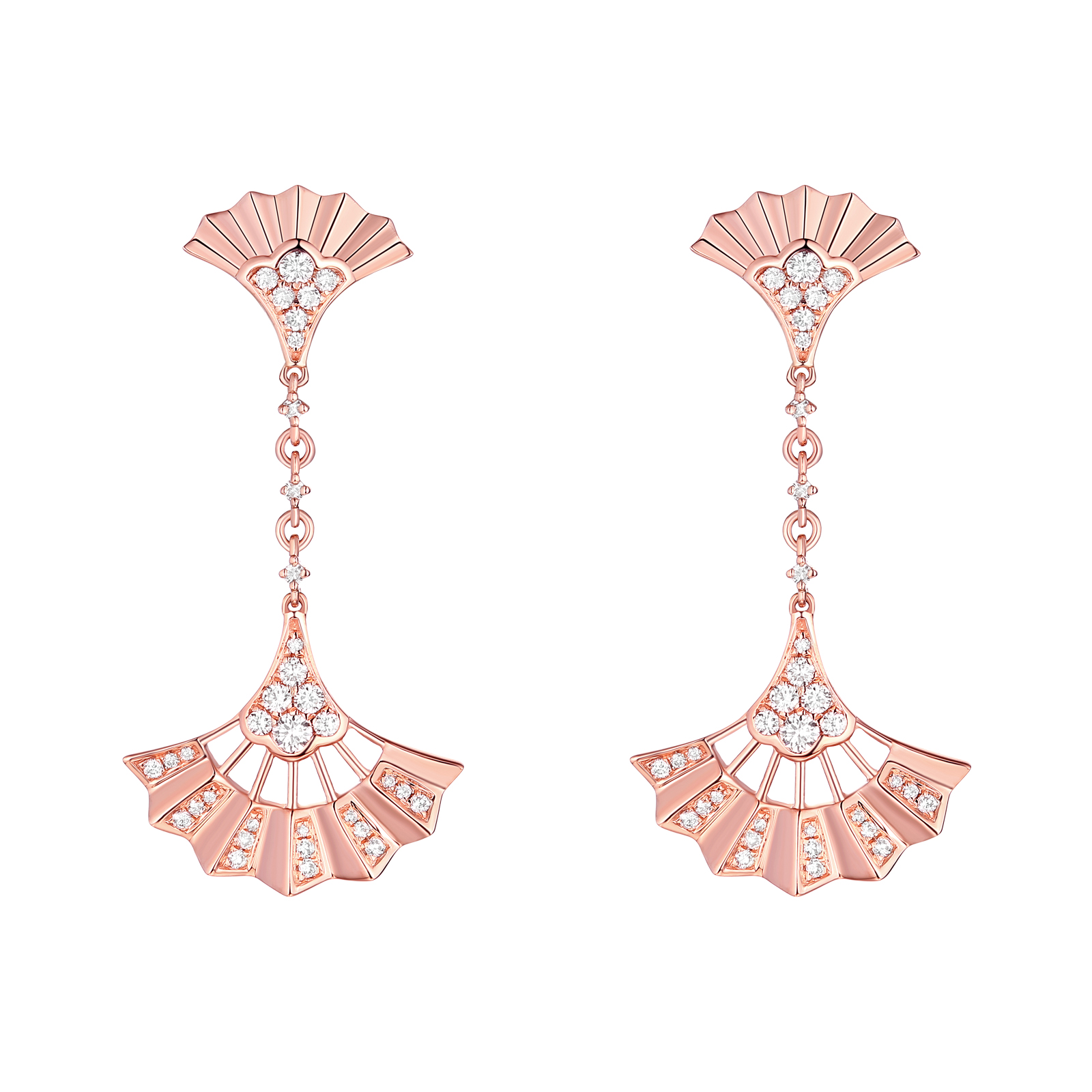 E29923WHT- 14K Rose Gold Diamond Earrings, 0.37 TCW