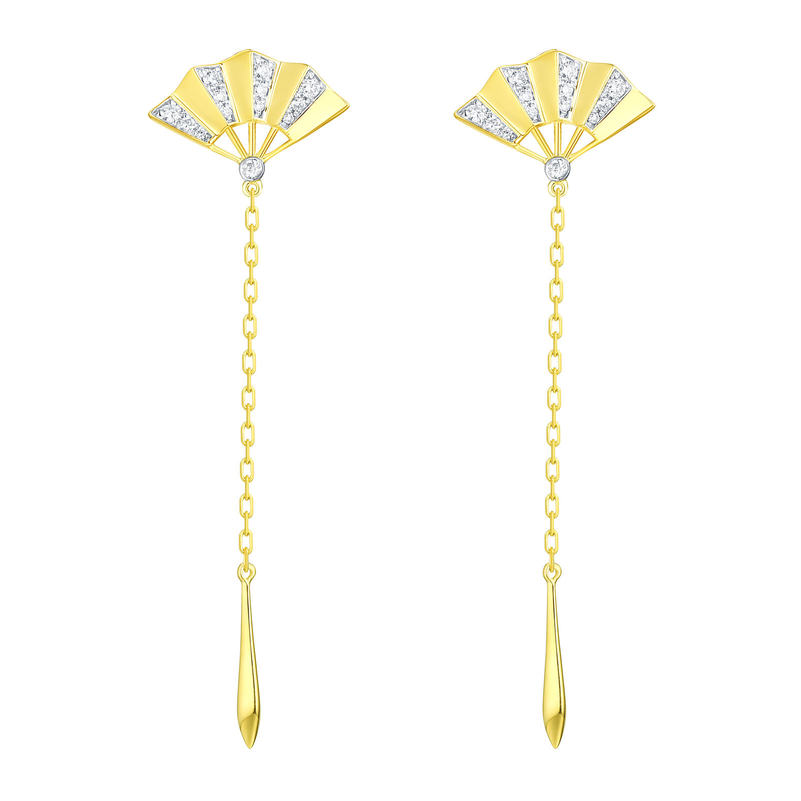 E29858WHT- 14K Yellow Gold Diamond Earring, 0.15 TCW