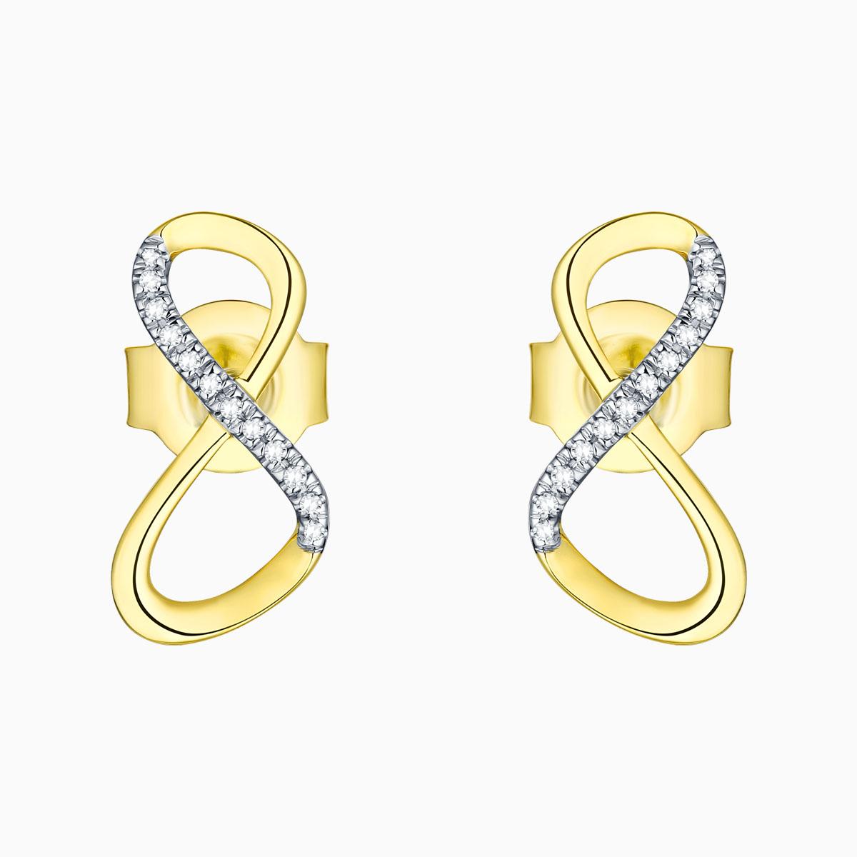 E13486WHT- 14K Yellow Gold Diamond Earrings, 0.04 TCW