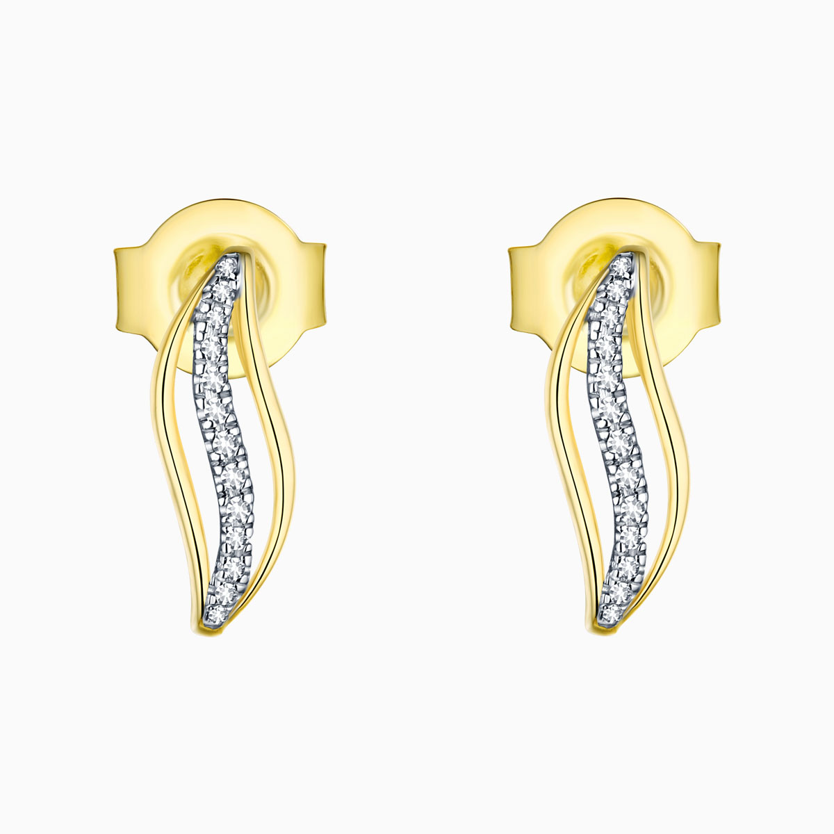 E13551WHT- 14K Yellow Gold Diamond Earrings, 0.04 TCW