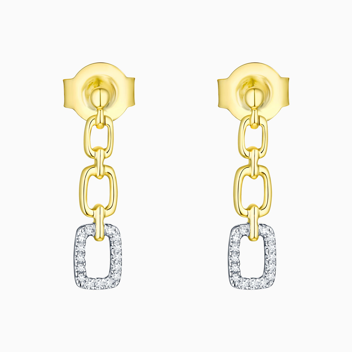E13553WHT- 14K Yellow Gold Diamond Earrings, 0.04 TCW